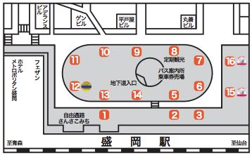 盛岡駅東口バス乗り場略図